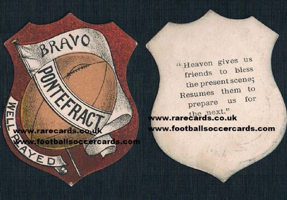 1880s Pontefract Wakefield rugby football card Brigg or Sharpe Sunday school religious inscription